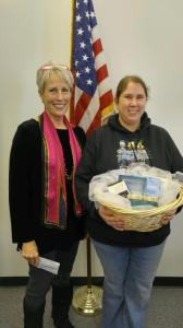 Lynne and Lindsey with author gift basket